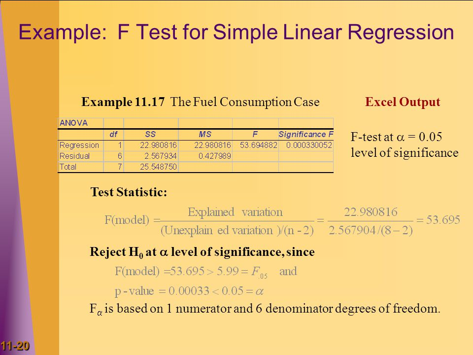 Example: F Test for Simple Linear Regression