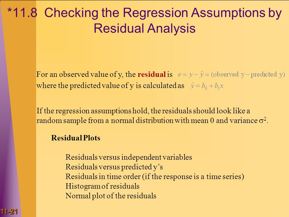 *11.8 Checking the Regression Assumptions by Residual Analysis