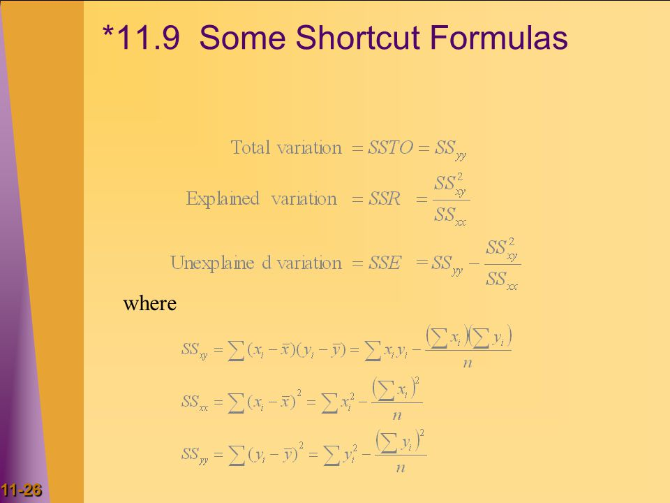 *11.9 Some Shortcut Formulas