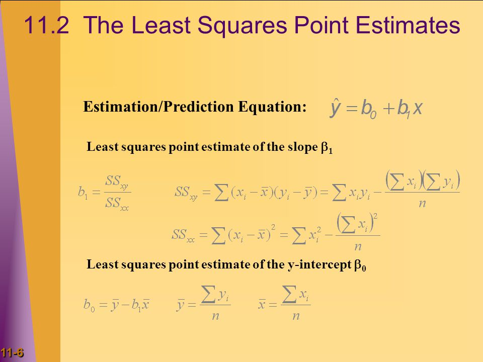 11.2 The Least Squares Point Estimates