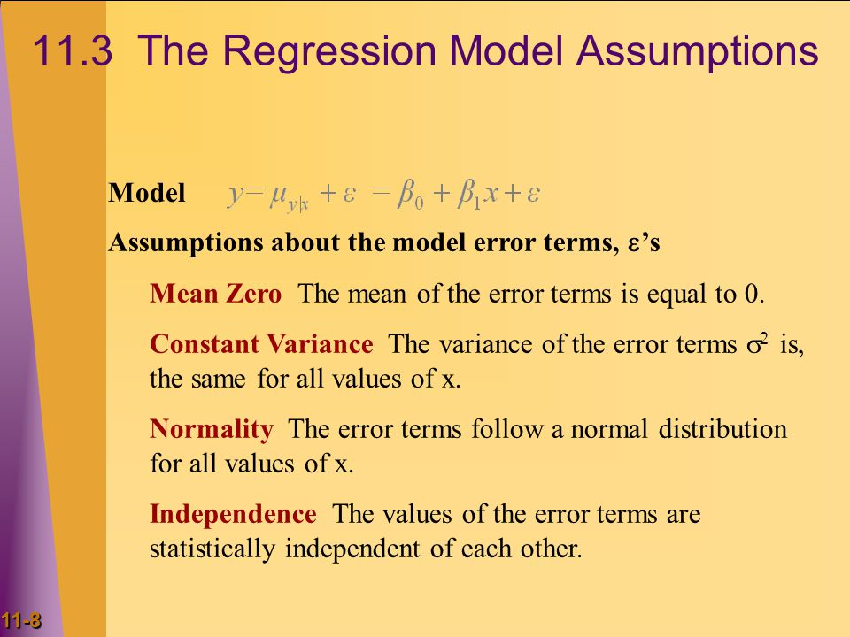 11.3 The Regression Model Assumptions