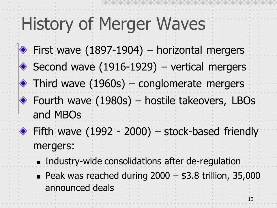 merger waves Mergers and acquisitions: an overview1 this period is now recognized as the fifth merger wave in u the main volume of non-us mergers and acquisitions is.