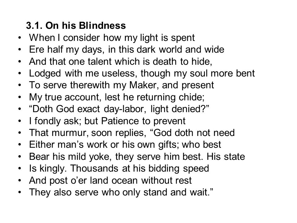 on his blindness john milton This article examines milton's poems, on his blindness and paradise lost.
