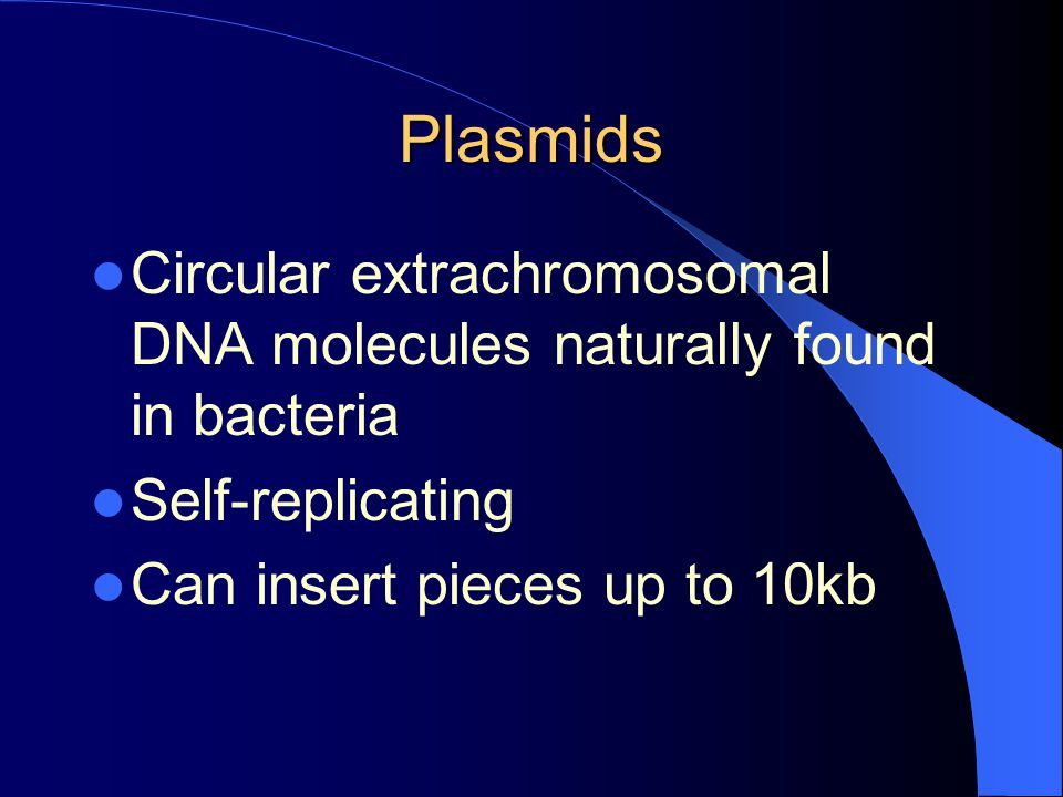 Plasmids Circular extrachromosomal DNA molecules naturally found in bacteria.
