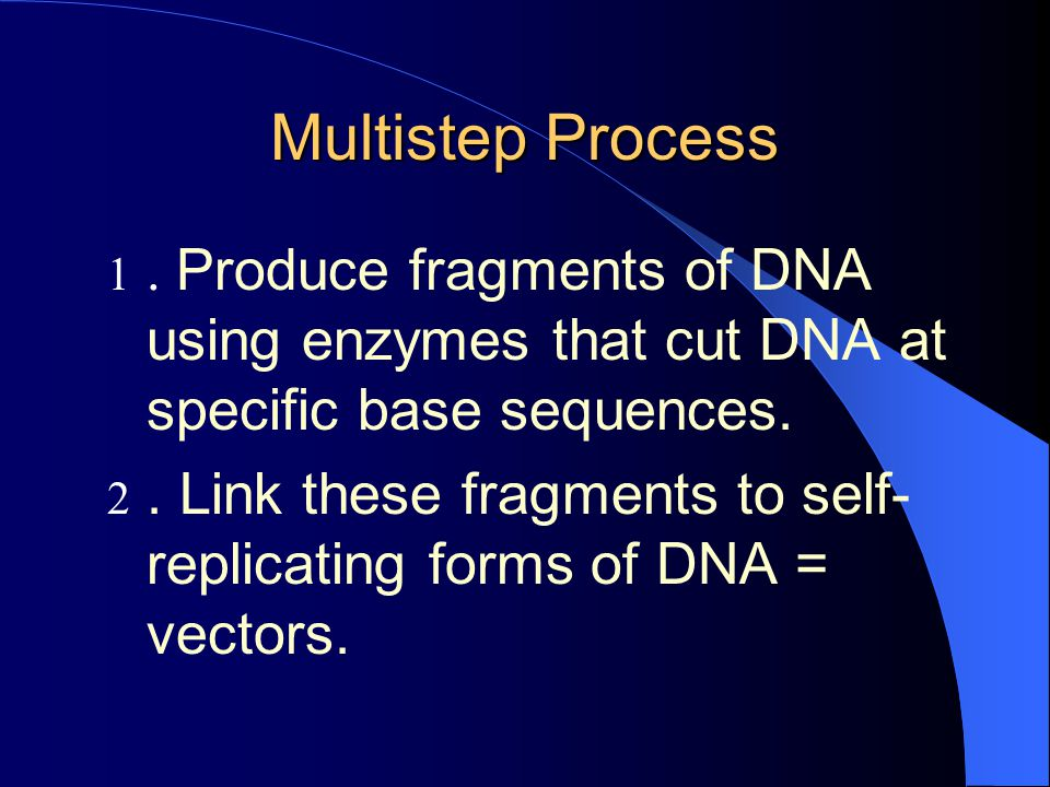Multistep Process . Produce fragments of DNA using enzymes that cut DNA at specific base sequences.