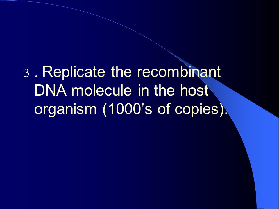. Replicate the recombinant DNA molecule in the host organism (1000's of copies).