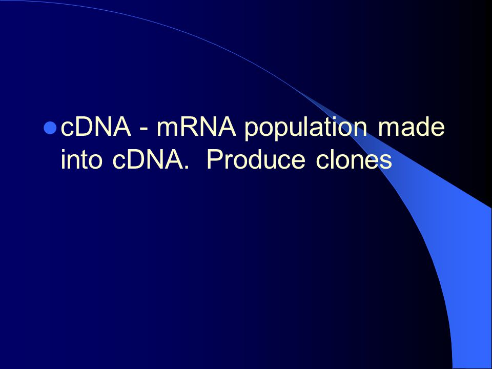 cDNA - mRNA population made into cDNA. Produce clones