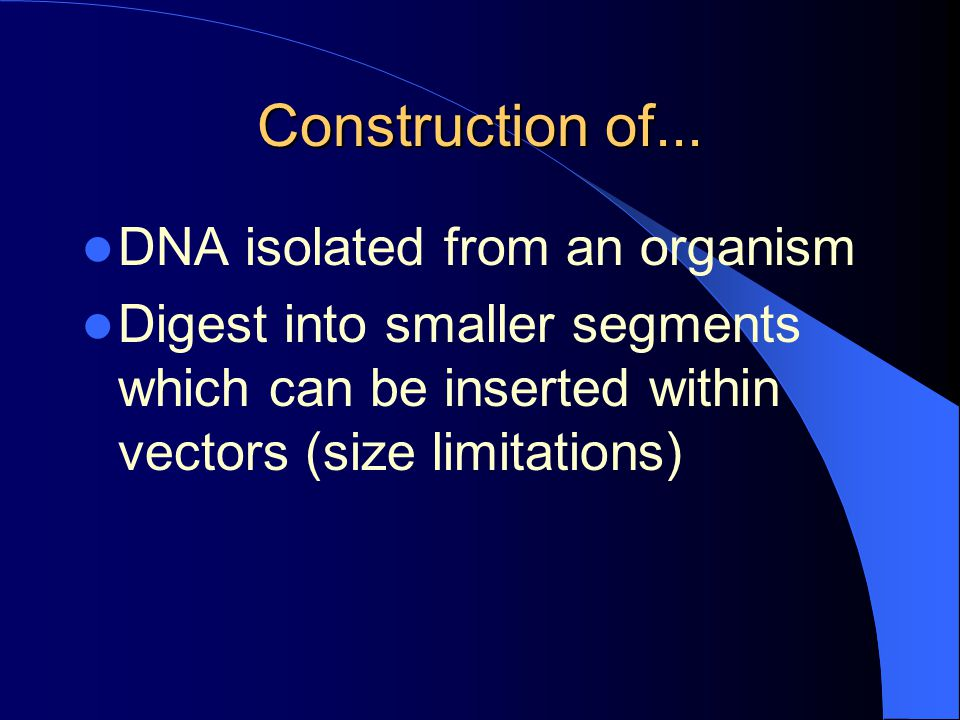 Construction of... DNA isolated from an organism