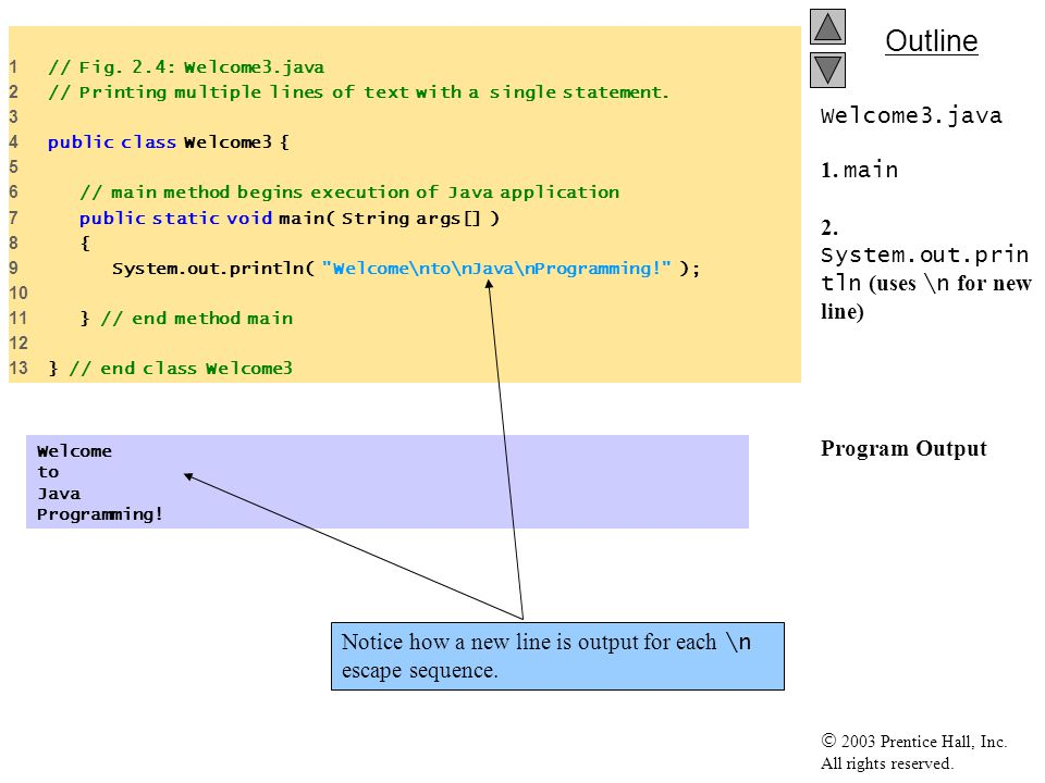 how to put new line in string java