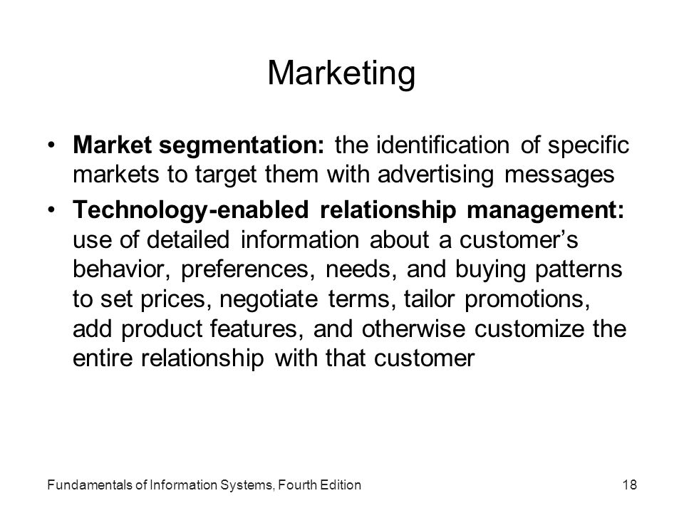 Marketing Market segmentation: the identification of specific markets to target them with advertising messages.