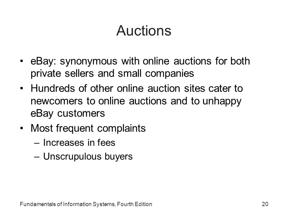 Auctions eBay: synonymous with online auctions for both private sellers and small companies.