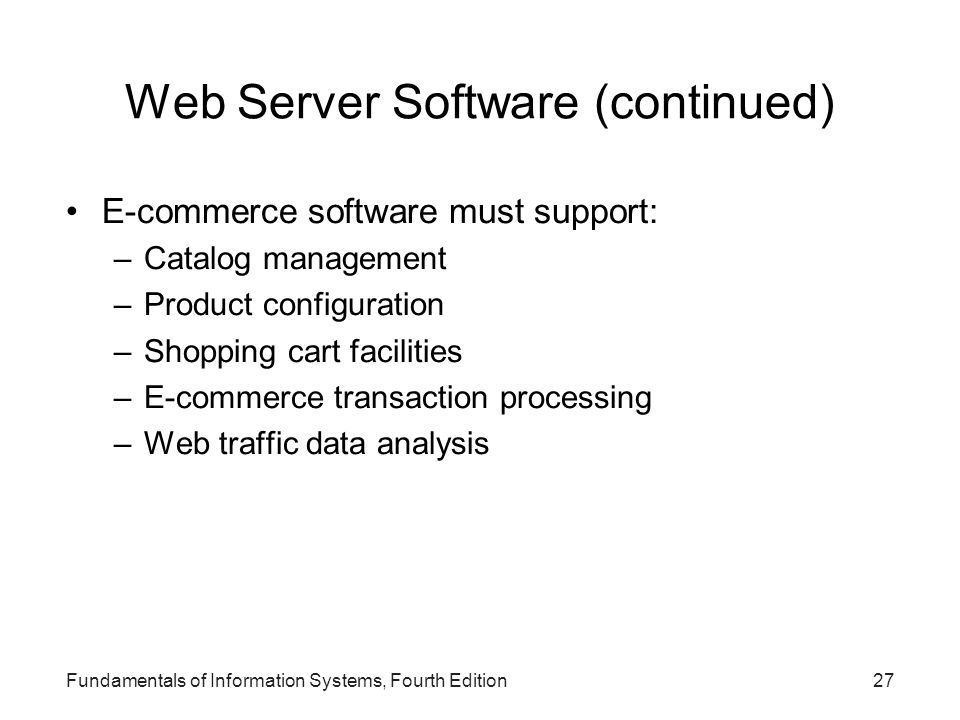 Web Server Software (continued)