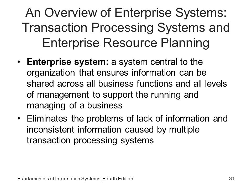 An Overview of Enterprise Systems: Transaction Processing Systems and Enterprise Resource Planning
