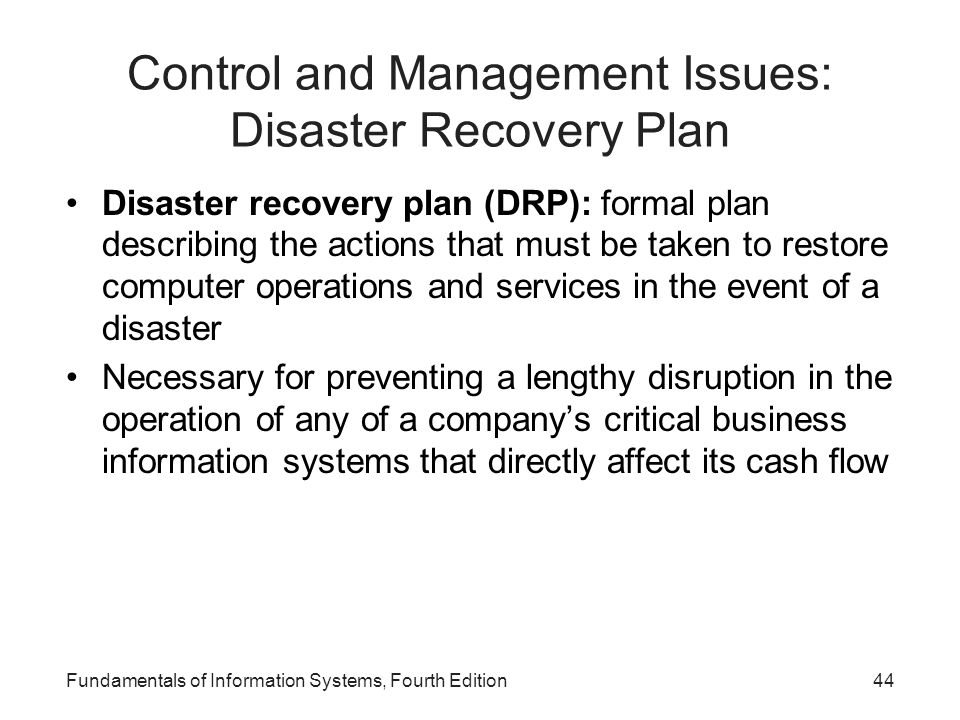 Control and Management Issues: Disaster Recovery Plan