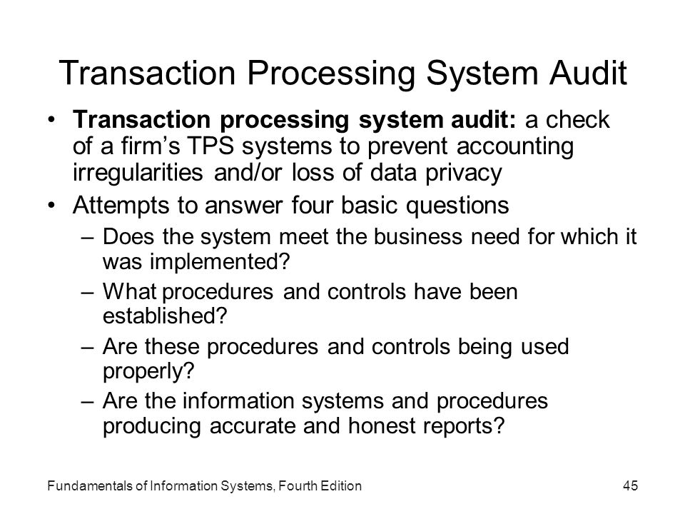 Transaction Processing System Audit