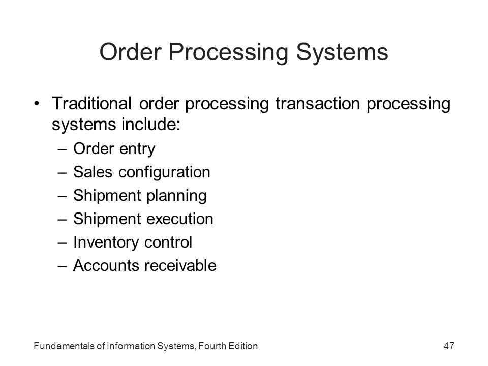 Order Processing Systems