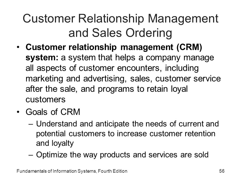 Customer Relationship Management and Sales Ordering