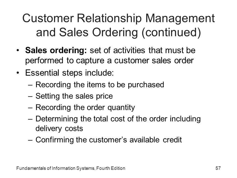 Customer Relationship Management and Sales Ordering (continued)