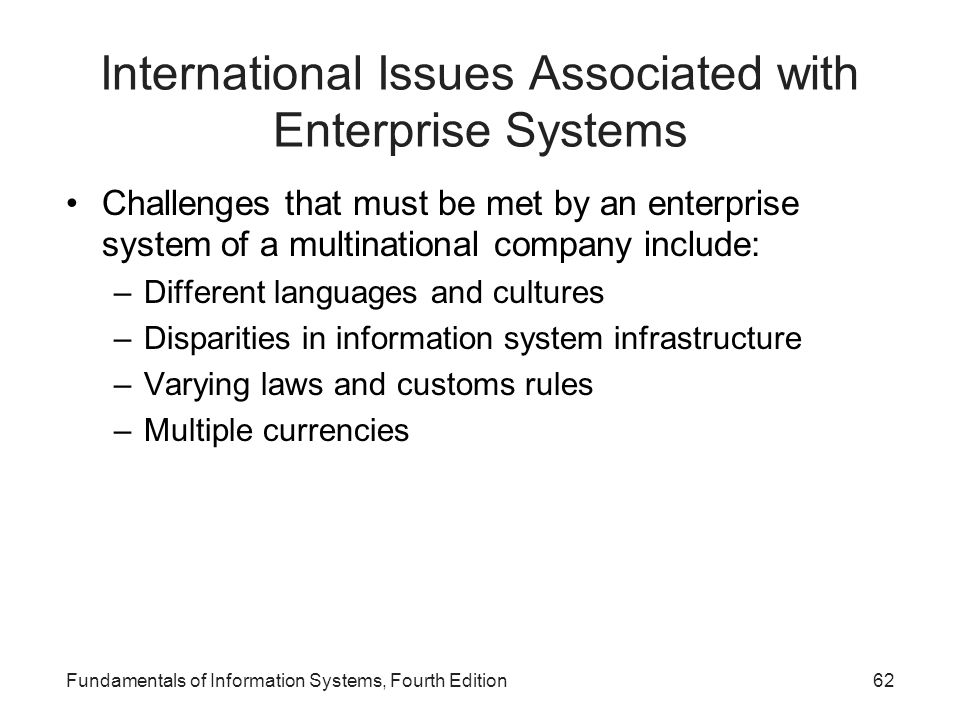 International Issues Associated with Enterprise Systems