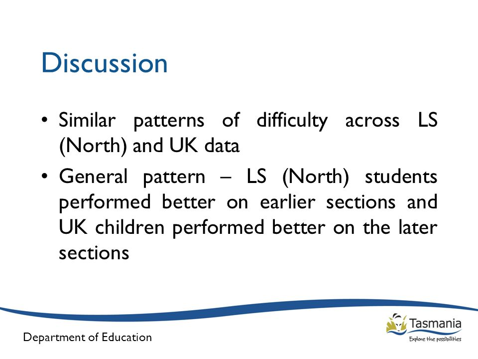 Discussion Similar patterns of difficulty across LS (North) and UK data.