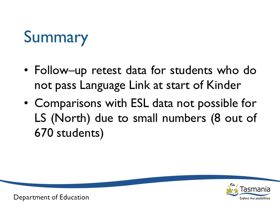 Summary Follow–up retest data for students who do not pass Language Link at start of Kinder.