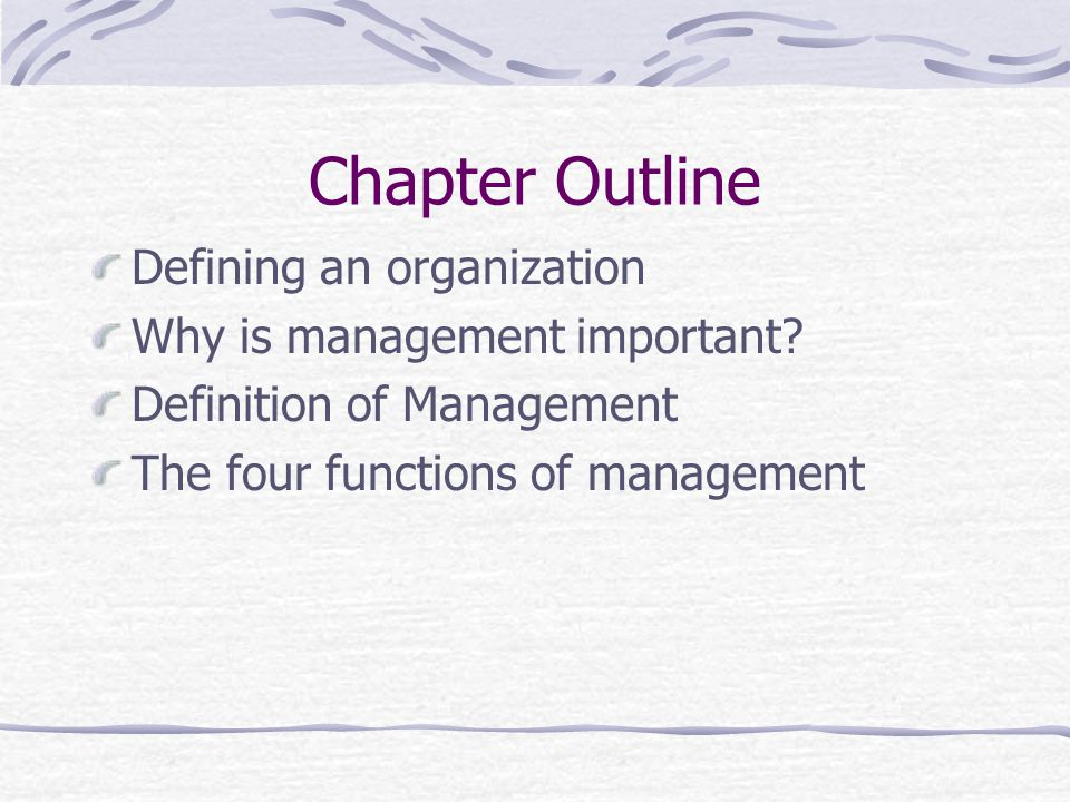 defining the four functions of management essay A discussion of key management roles, responsibilities, and functions, as well as  management positions at different  healthcare organizations management has  been defined as the process, comprised of social and technical func-  page 4.