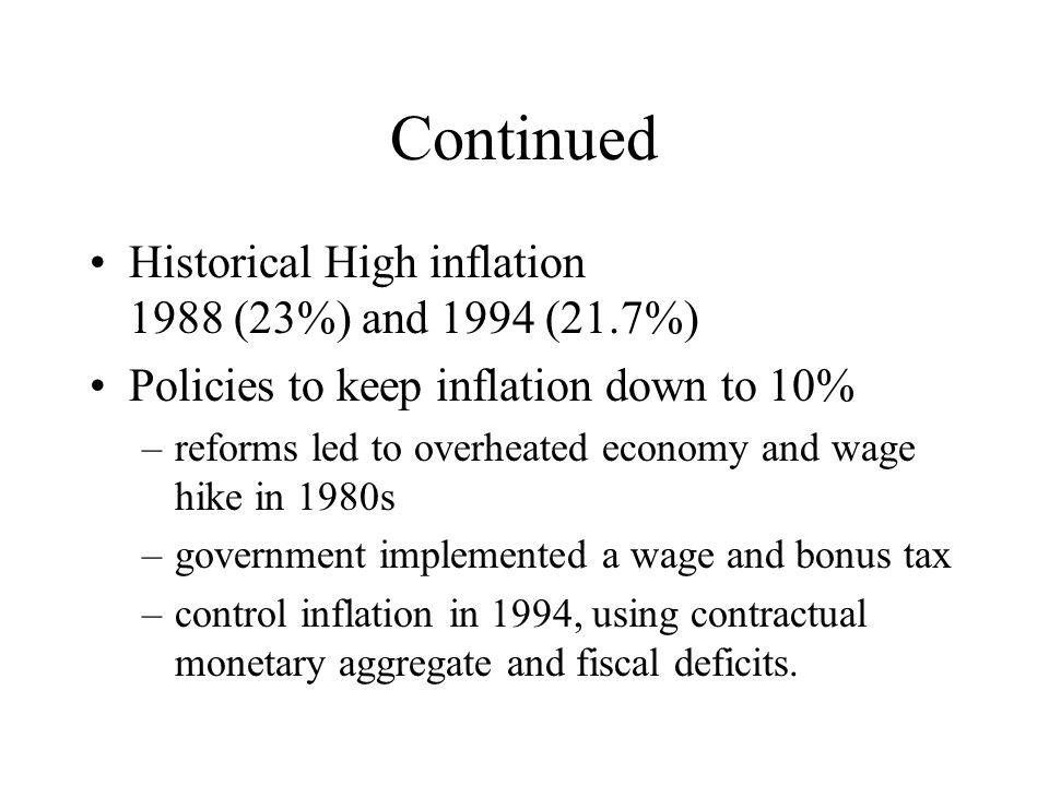 Continued Historical High inflation 1988 (23%) and 1994 (21.7%)