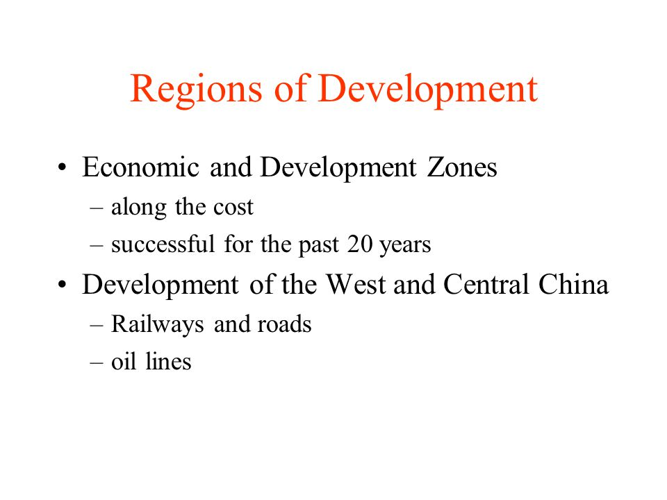 Regions of Development