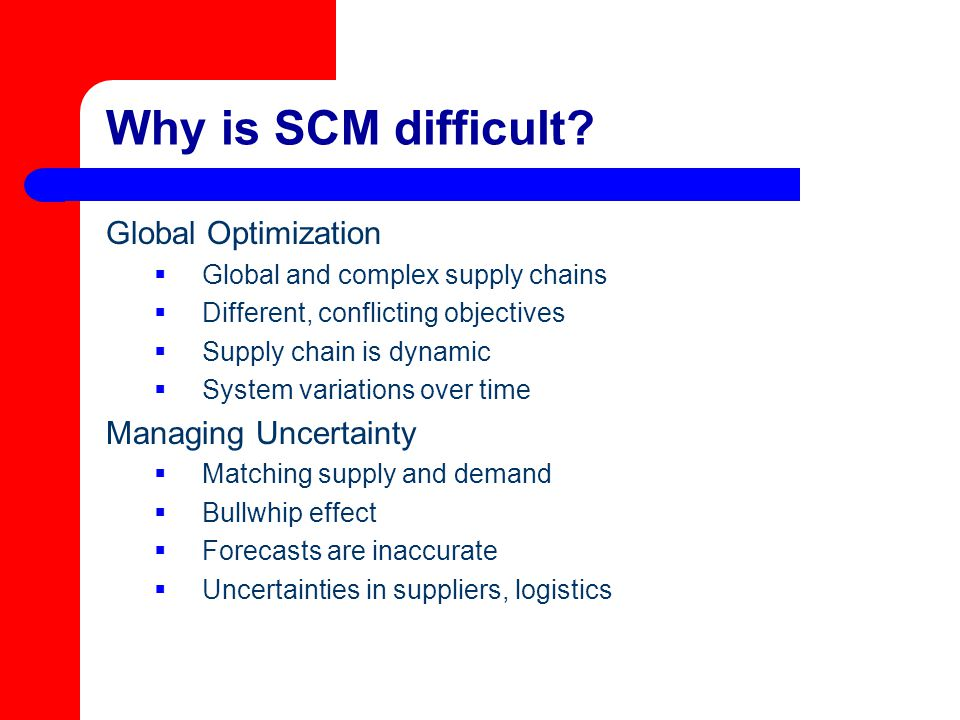 Why is SCM difficult Global Optimization Managing Uncertainty