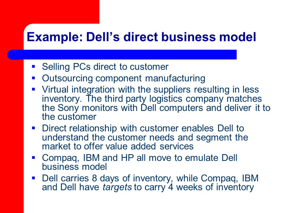 Example: Dell's direct business model