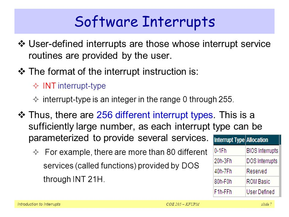 Software Interrupts User-defined interrupts are those whose interrupt service routines are provided by the user.
