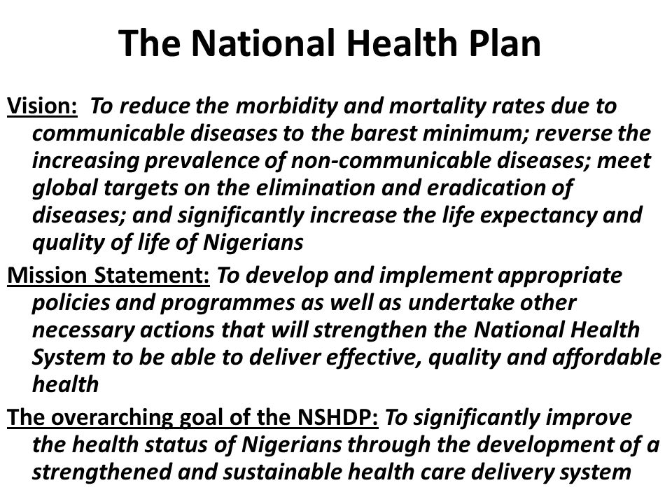The National Health Plan