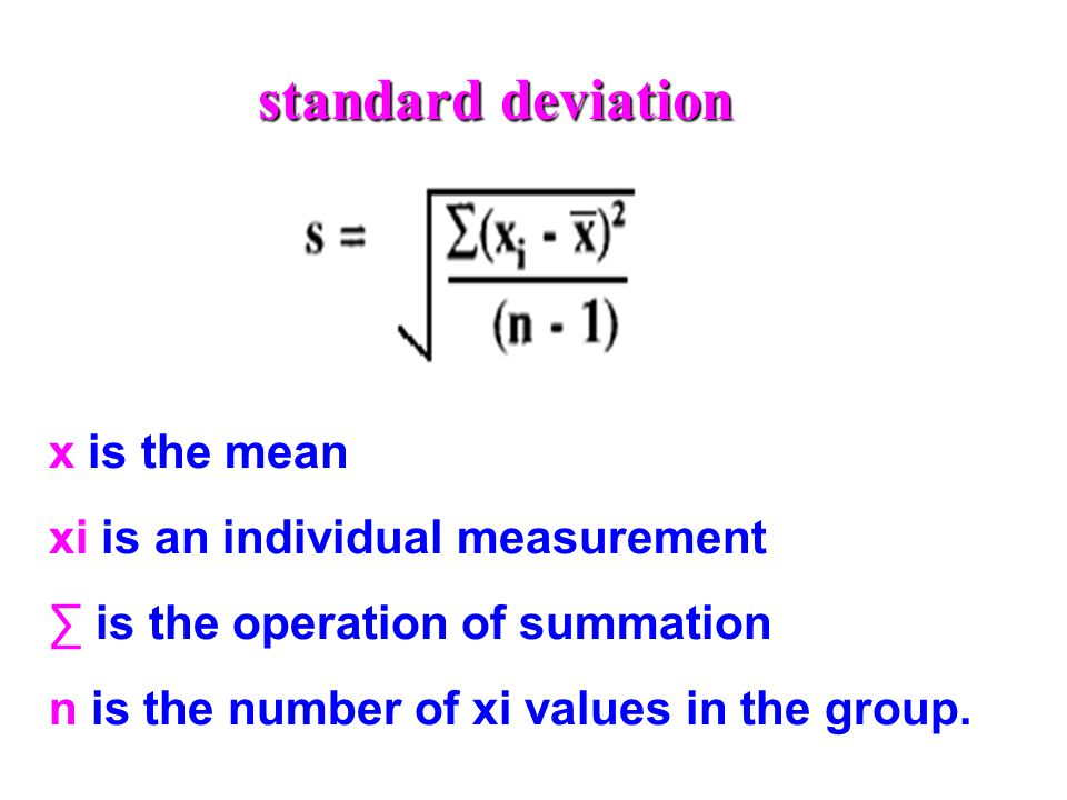 standard deviation x is the mean xi is an individual measurement