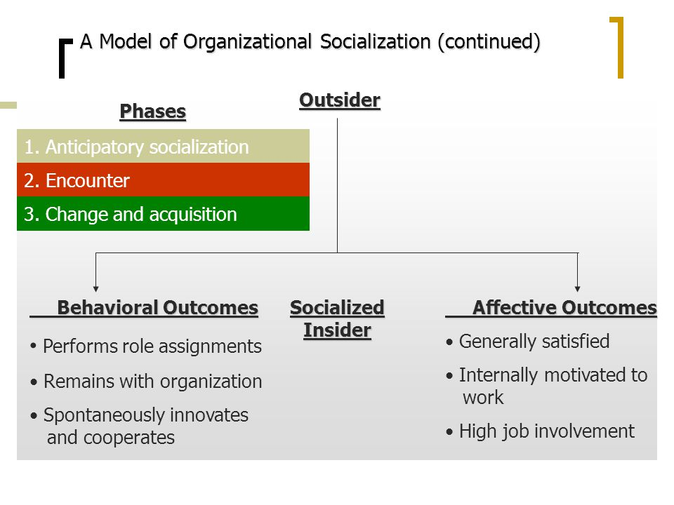 explain the impact that organizational socialization has on job satisfaction Among relevant consequences of organizational socialization, a key  however,  the relation between organizational socialization and ocbi has received little  attention  among the different kinds of ocb, ocbi are defined as those  and  the job satisfaction and commitment necessary to engage in ocbi.