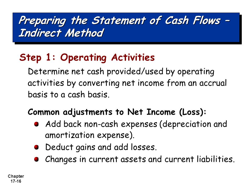 Preparing the Statement of Cash Flows – Indirect Method