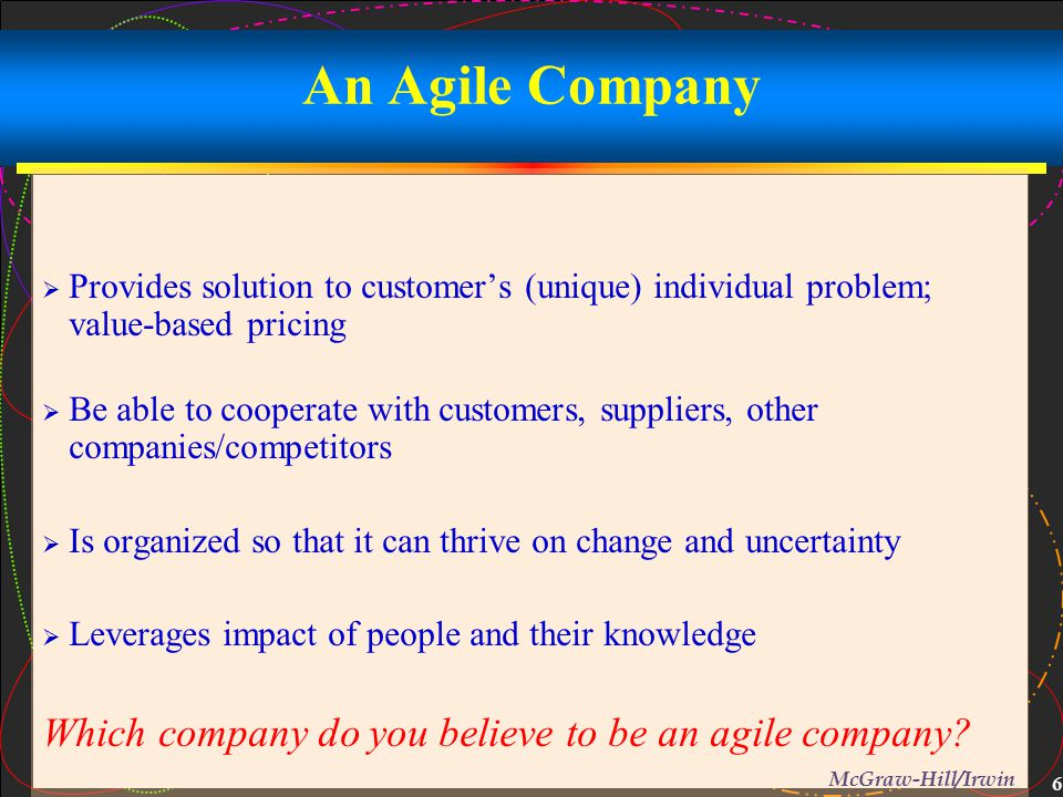 An Agile Company Which company do you believe to be an agile company