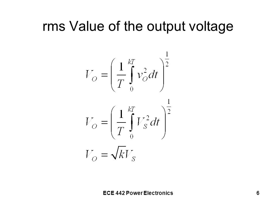 rms Value of the output voltage