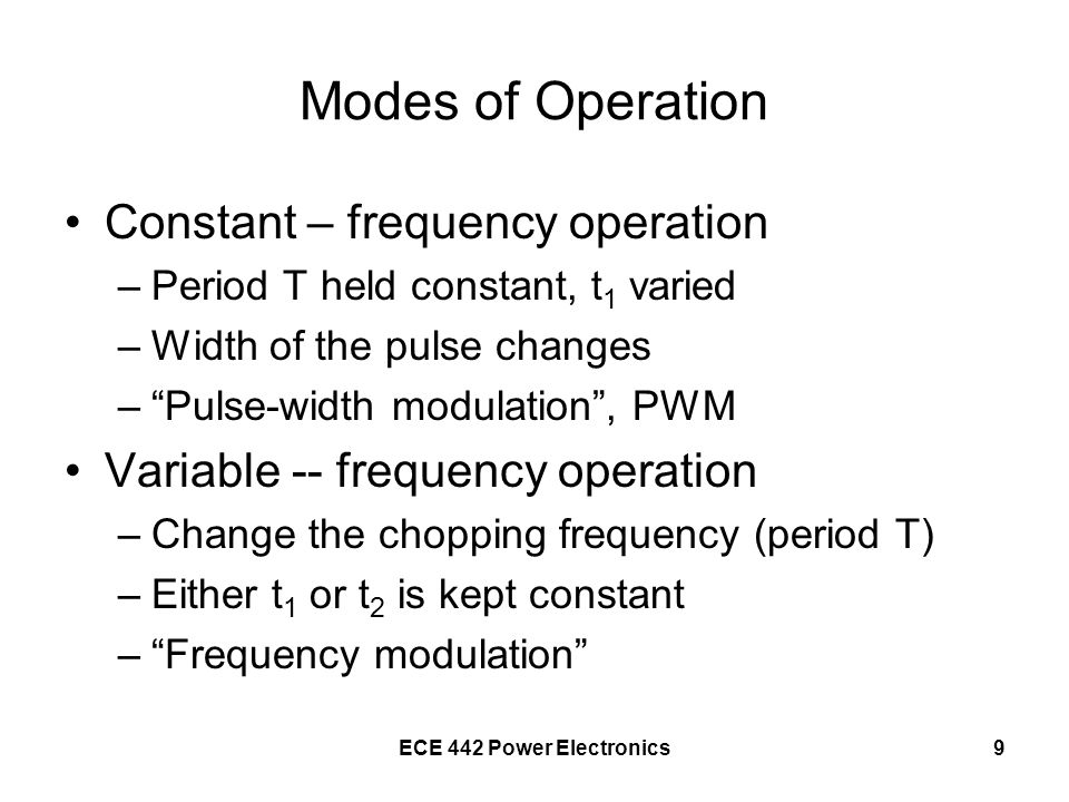 Modes of Operation Constant – frequency operation