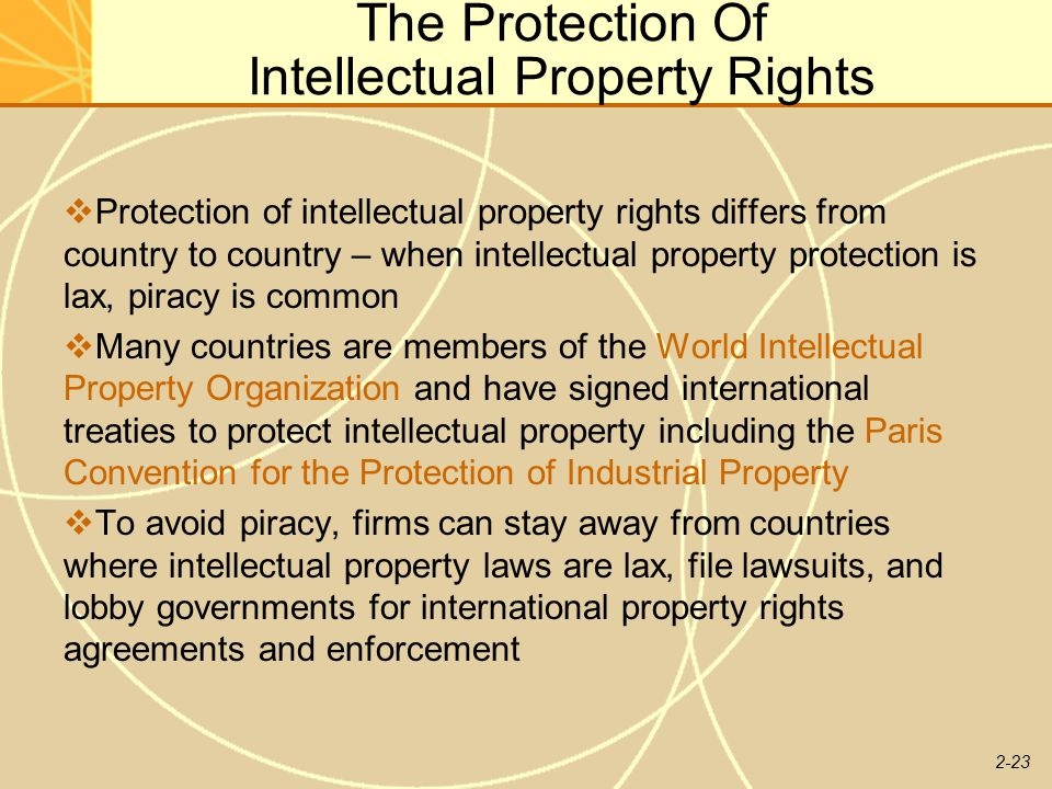 international protection of intellectual property rights Bassem awad is deputy director of international intellectual property law and innovation,  indigenous rights and the protection of traditional knowledge,.