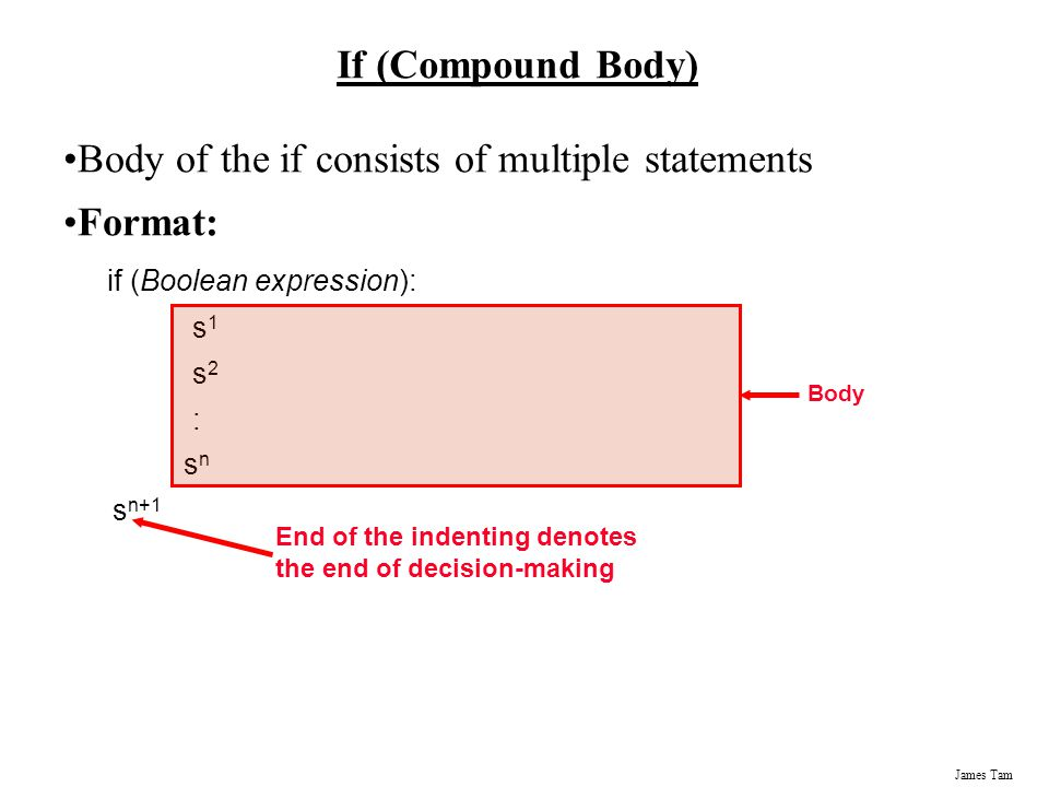 Body of the if consists of multiple statements Format: