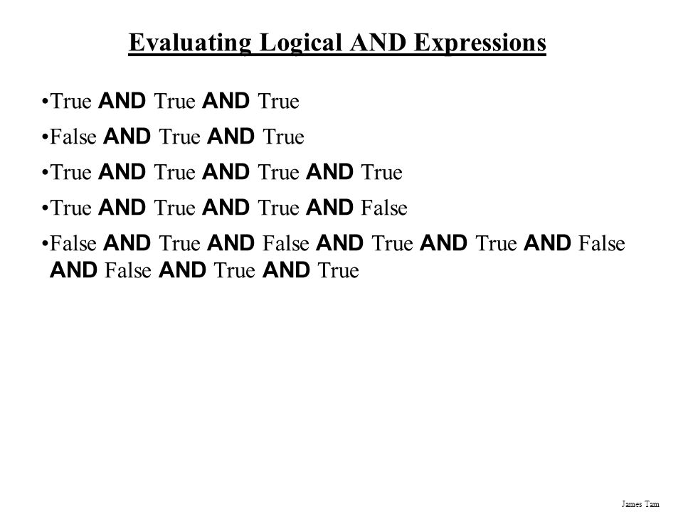 Evaluating Logical AND Expressions