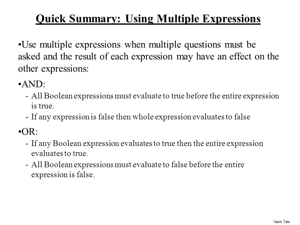 Quick Summary: Using Multiple Expressions
