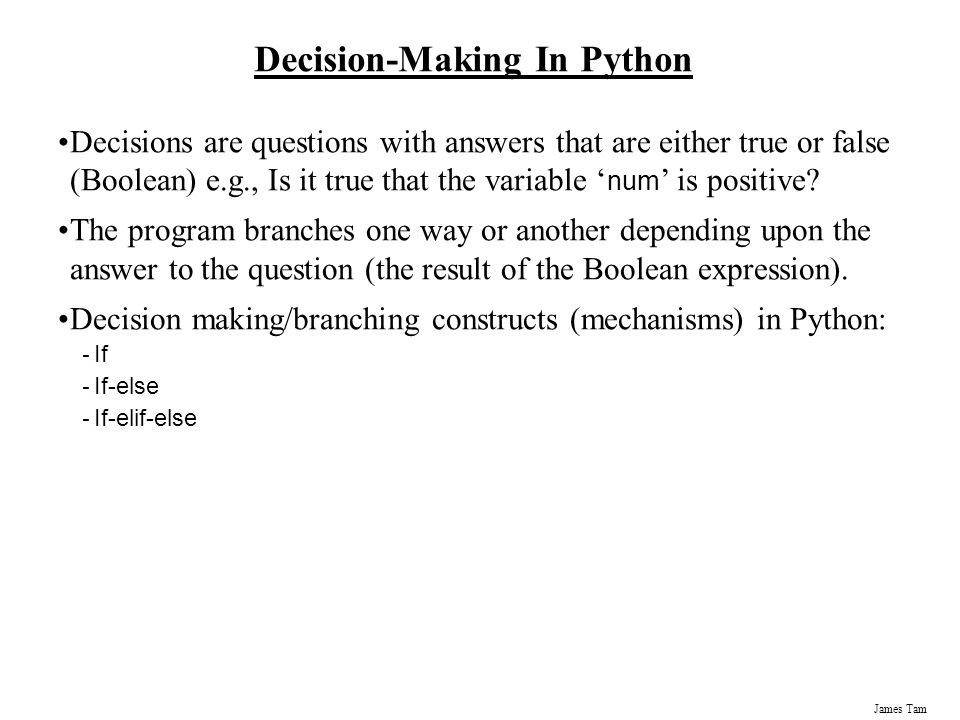 Decision-Making In Python