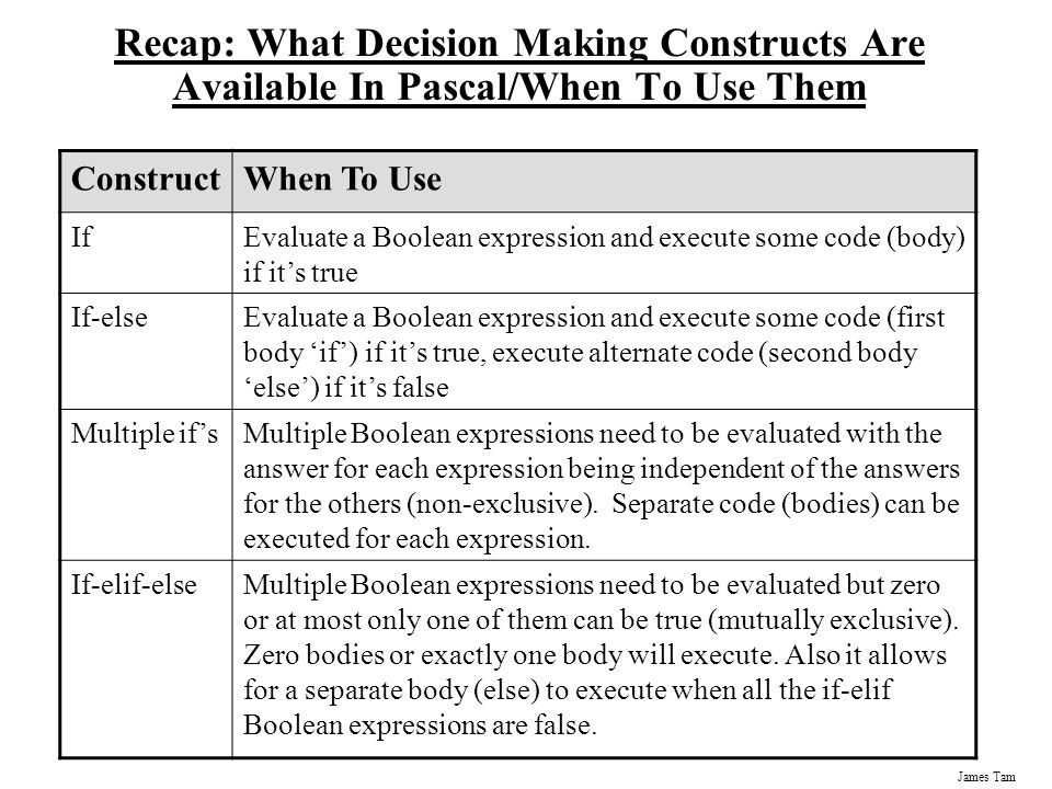 Recap: What Decision Making Constructs Are Available In Pascal/When To Use Them