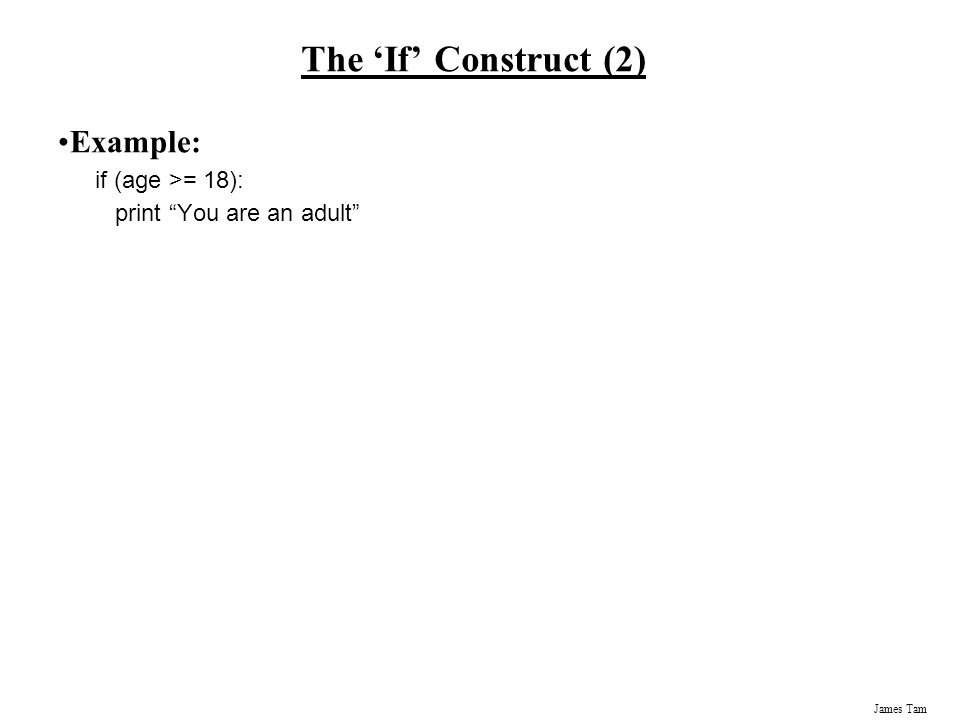 The 'If' Construct (2) Example: if (age >= 18):
