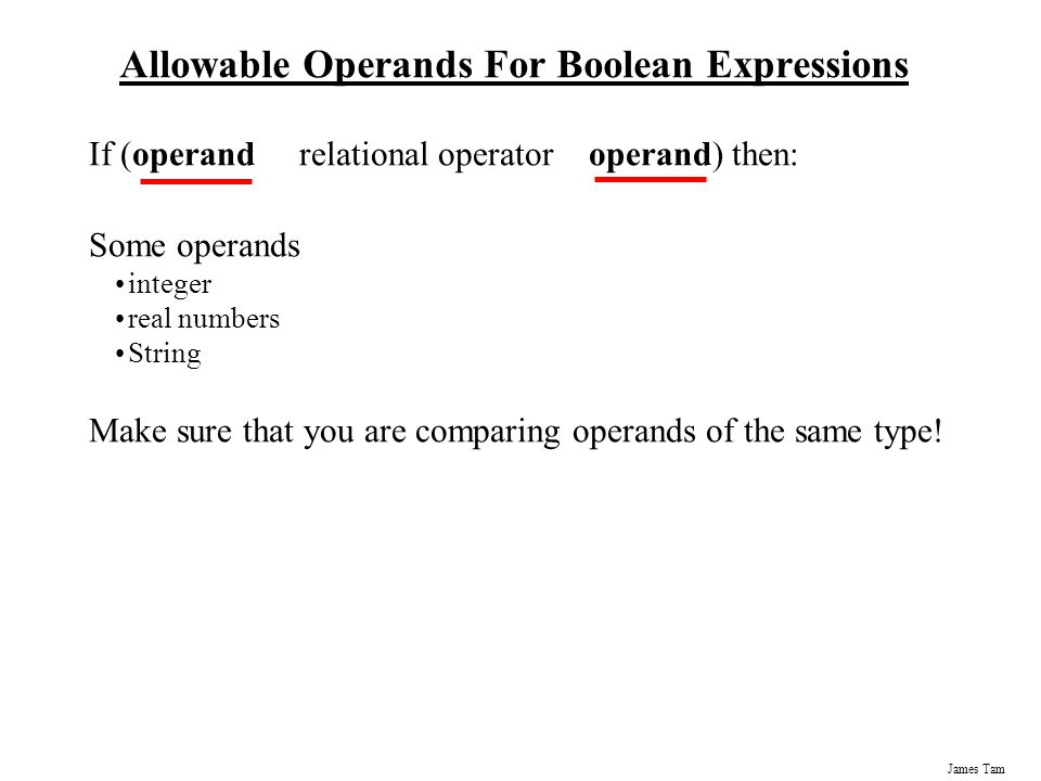 Allowable Operands For Boolean Expressions