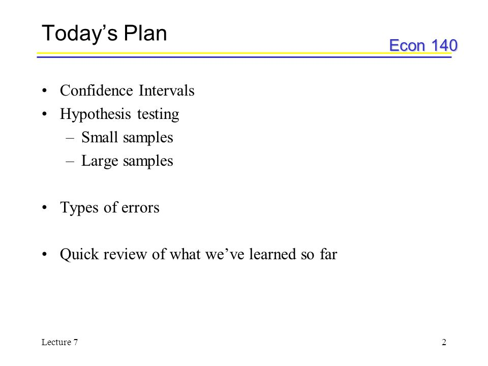 Today's Plan Confidence Intervals Hypothesis testing Small samples