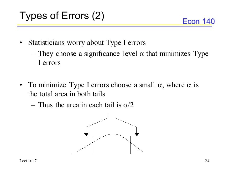 Types of Errors (2) Statisticians worry about Type I errors