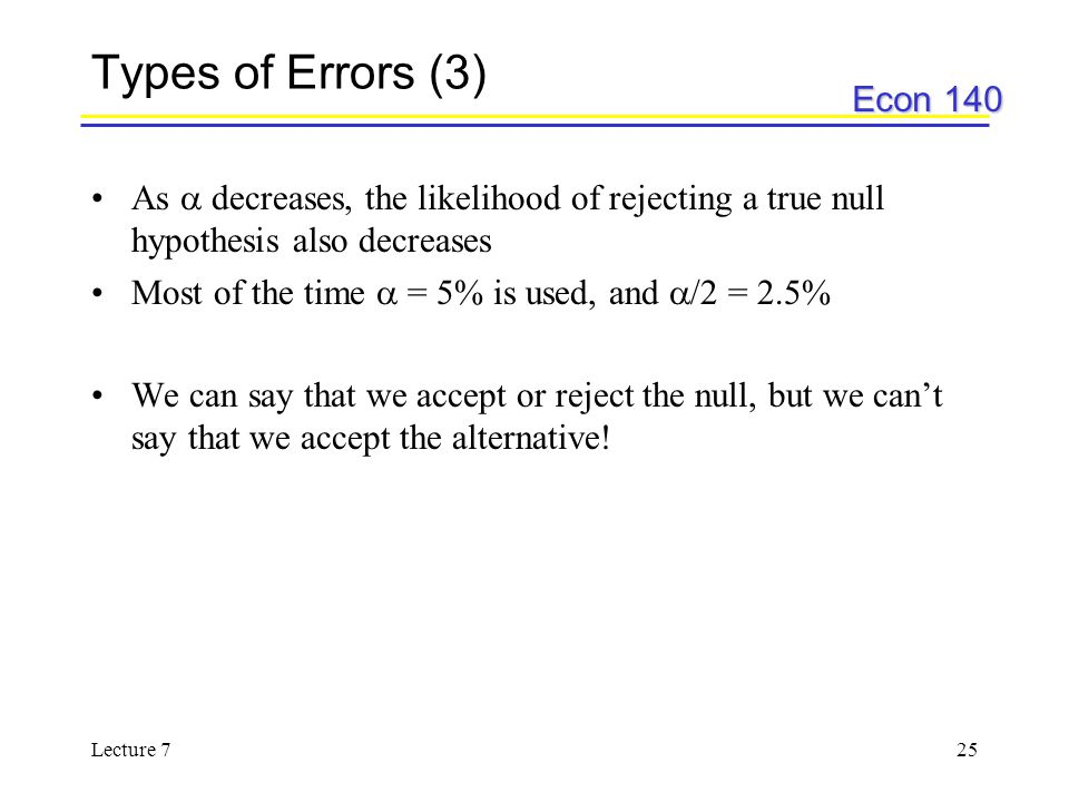 Types of Errors (3) As  decreases, the likelihood of rejecting a true null hypothesis also decreases.