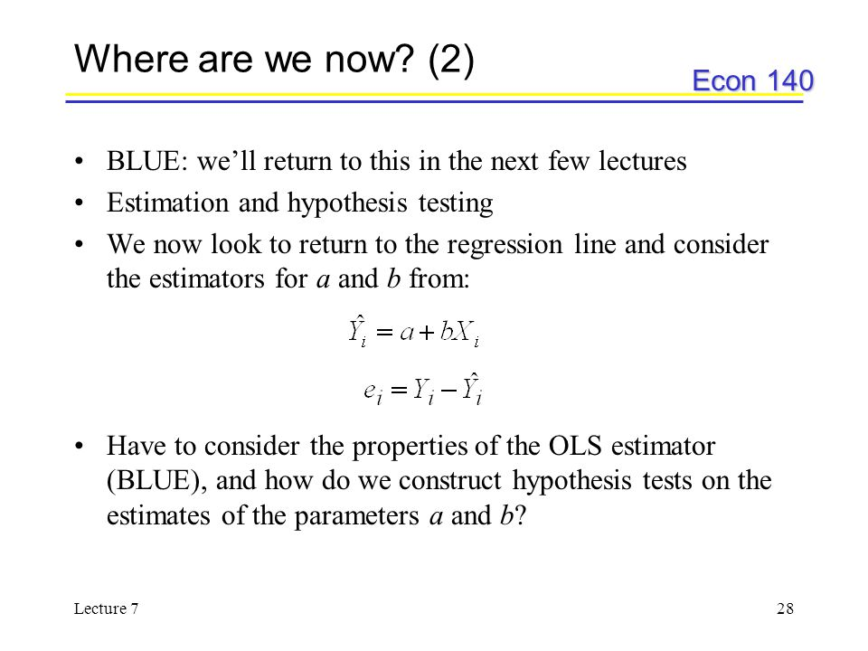 Where are we now (2) BLUE: we'll return to this in the next few lectures. Estimation and hypothesis testing.